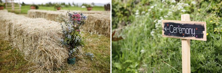 Outside ceremony decoration ideas, haybales with flowers plus a fun sign to show the direction to walk.